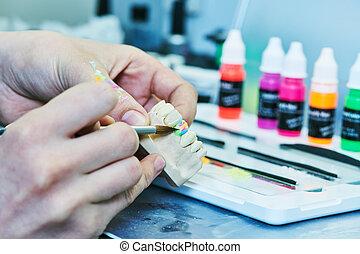 work., dental, production., prótesis, construcción, dientes...