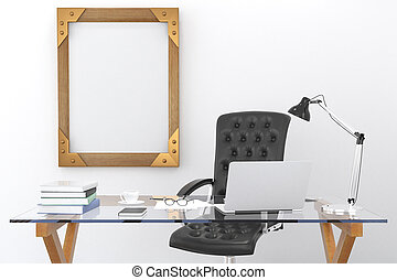 Work desk with a laptop and a blank picture frame on the wall, mock up