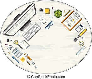 Work desk workspace top view with PC computer and a lot of different stationery objects on table with copy space for text. All elements are easy to use separately or recompose illustration. Vector.