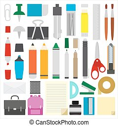 work draw sketch school stationary flat design set illustration