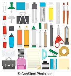 work draw sketch school stationary flat design set illustration