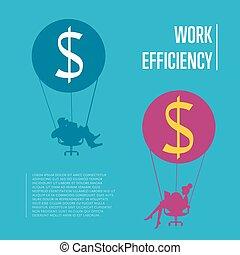 Work efficiency banner. Business people flying