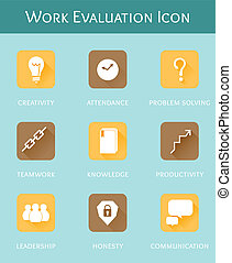 work evaluation business concept flat icon set