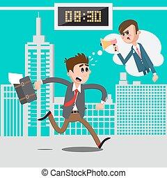 work., fâché, illustration, patron, tard, megaphone., vecteur, homme affaires, hâte, crier, homme