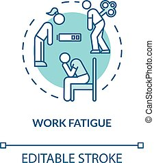 Work fatigue turquoise concept icon. Empty battery. Low energy. Depressed person. Burnout symptom idea thin line illustration. Vector isolated outline RGB color drawing. Editable stroke