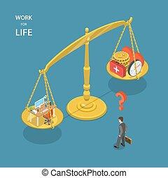 Work for life isometric flat vector illustration.