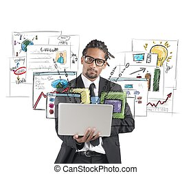 Work for new plan - Businessman works with laptop for new...