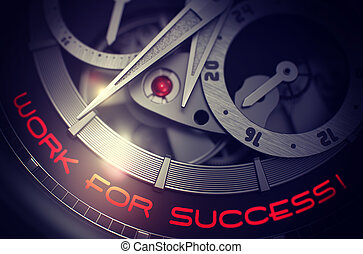 Work For Success on the Automatic Wristwatch Mechanism. 3D.