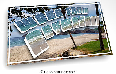 Work from Anywhere Postcard Remote Job Beach Vacation 3d Illustration