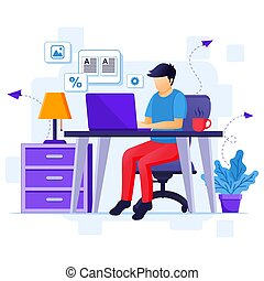 Work from home concept, A man work on laptop, stay at  home on quarantine during the Coronavirus Epidemic illustration