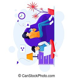 Work from home concept, stay at home on quarantine during the Coronavirus Epidemic illustration