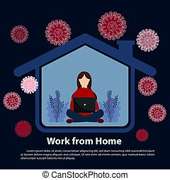 Coronavirus concept. work online from home the coronavirus epidemic. Work at home during isolation. Vector, illustration, flat design, esp.