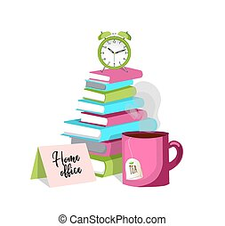 Work from home. Cup of tea, alarm clock, clock, books. Concept Home office.and REMOTE WORK. Vector illustration on a white background