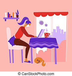Work from home during outbreak of the COVID-19 virus. People work at home to prevent virus infection. Woman working on the kitchen table near womdow with a cat. Girl in mask works on laptop at home.