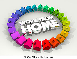 Work from Home Houses Ring Tele Commute 3d Illustration