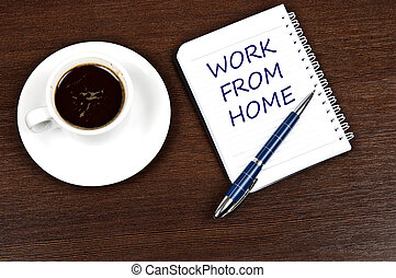 Work from home message and coffee