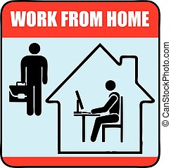 Work from home - Warning sign about the need to comply with ...