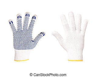 Work gloves blue and white isolated on a white background