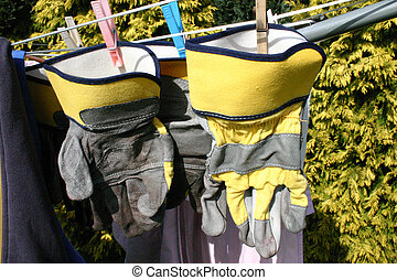 Work Gloves on Rotary Washing Line