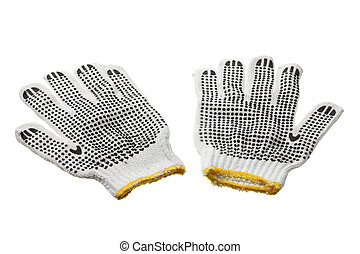 Work Gloves on White Background