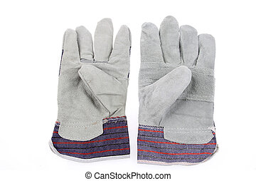 Work gloves - Pair of new work gloves on plain background