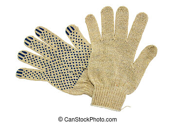 Work gloves. - Thin work gloves isolated on white...