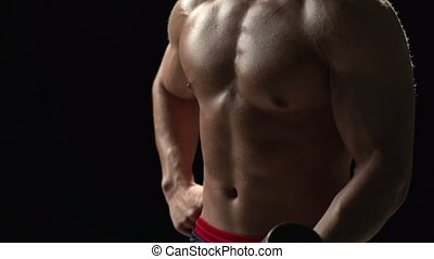Work Hard - Macro shot of muscular male torso