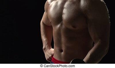 Work Hard - Macro shot of muscular male torso