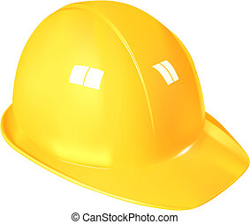 yellow plastic work helmet on white background