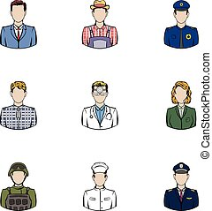 Work icons set, cartoon style