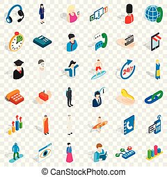 Work icons set, isometric style