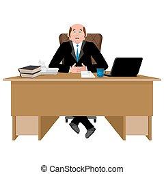 work., illustration, patron, gai, desk., vecteur, homme affaires, heureux