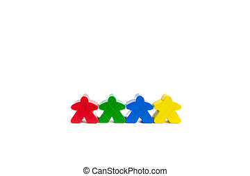 Work in a team concept. Four best friends. Colourful game figures are isolated on a white background.