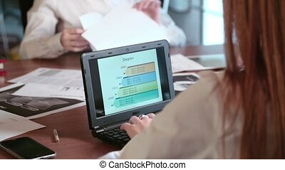 Work in office with computer and paperwork