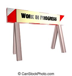 Work in progress barrier isolated over white background, 3d...
