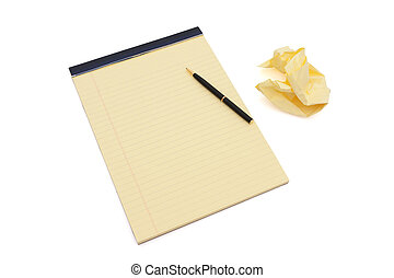 Work in progress - Blank yellow lined notepad with...