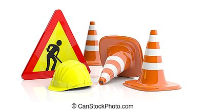 Traffic cones and sign and hard hat on white background. 3d illustration