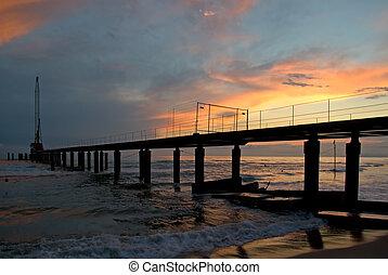 Work in progress - Pier is built in the italian coastline....