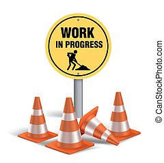 Work in progress Sign in White Background. 3D Mesh Vector...