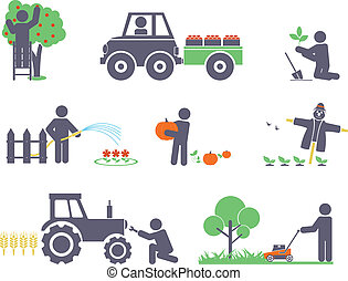 Work in the garden. Vector set for you design