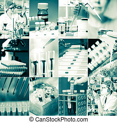 Work in the microbiology laboratory, medical research set -...