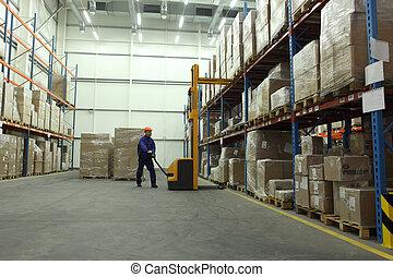 work in warehouse - worker in blue uniform in the warehouse