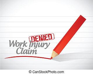 work injury claim denied illustration design over a white...