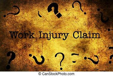 Work injury claim grunge concept