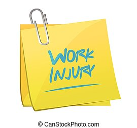 work injury memo post illustration design over a white ...