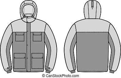 Work jacket - Vector illustration of winter work hooded...