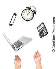 Work juggling act  - Hands juggling many office appliances