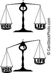 detailed illustration of two scales with work life balance terms