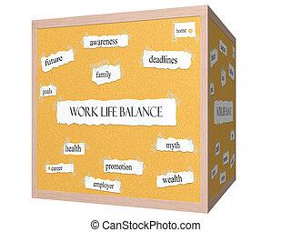 Work Life Balance 3D cube Corkboard Word Concept