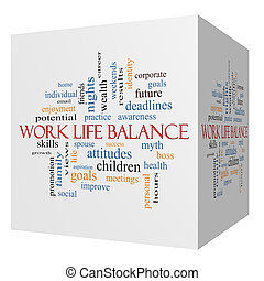 Work Life Balance 3D cube Word Cloud Concept